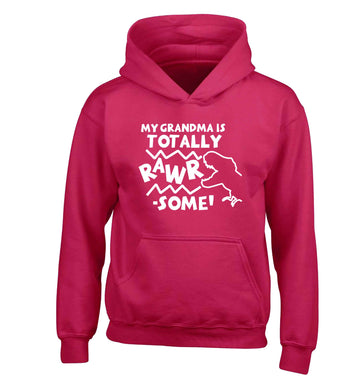 My grandma is totally rawrsome children's pink hoodie 12-13 Years