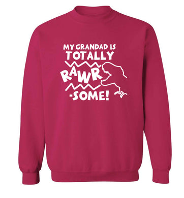 My grandad is totally rawrsome adult's unisex pink sweater 2XL