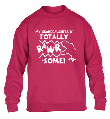 My granddaughter is totally rawrsome children's pink sweater 12-13 Years