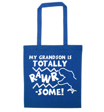 My grandson is totally rawrsome blue tote bag