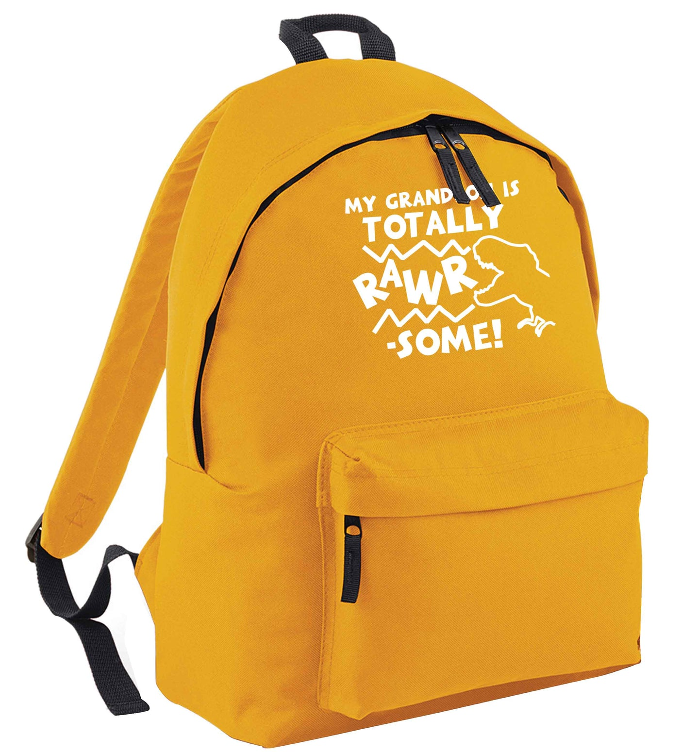 My grandson is totally rawrsome mustard adults backpack