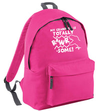 My grandson is totally rawrsome pink childrens backpack