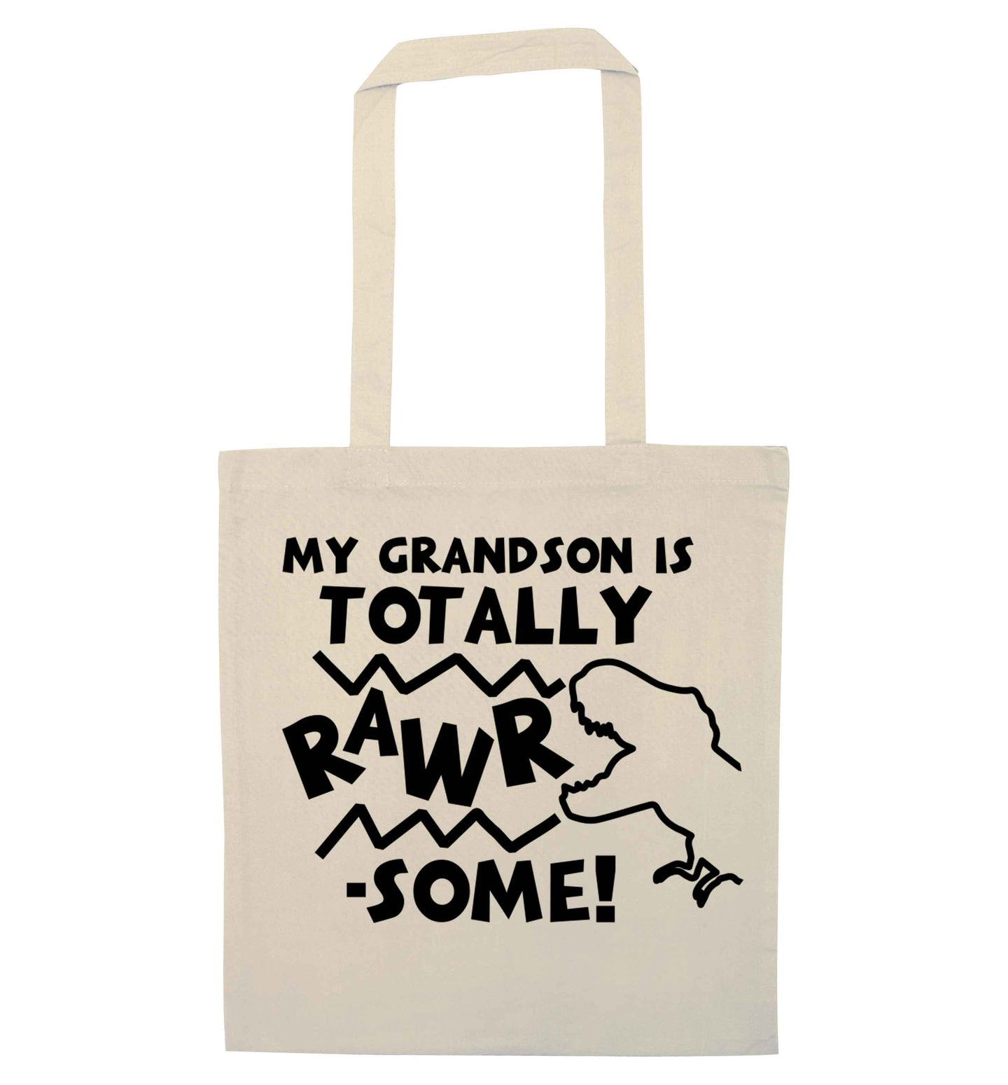 My grandson is totally rawrsome natural tote bag