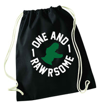 One and Rawrsome black drawstring bag