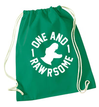 One and Rawrsome green drawstring bag