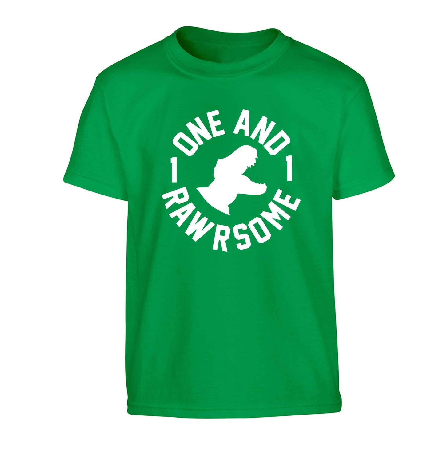 One and Rawrsome Children's green Tshirt 12-13 Years