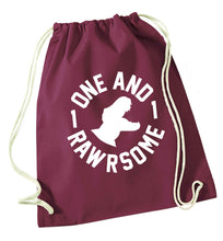 One and Rawrsome maroon drawstring bag