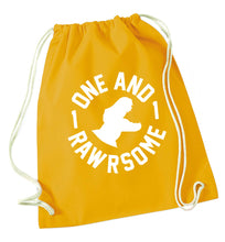 One and Rawrsome mustard drawstring bag
