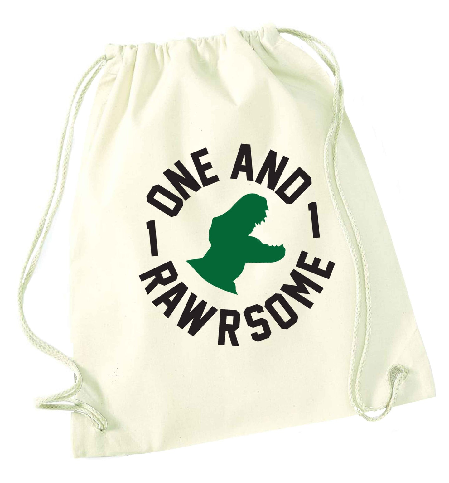 One and Rawrsome natural drawstring bag