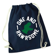 One and Rawrsome navy drawstring bag