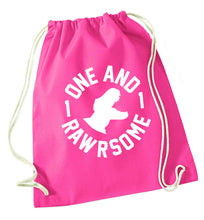 One and Rawrsome pink drawstring bag