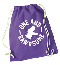 One and Rawrsome purple drawstring bag