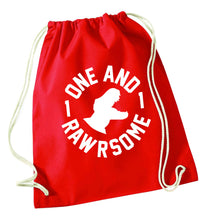 One and Rawrsome red drawstring bag