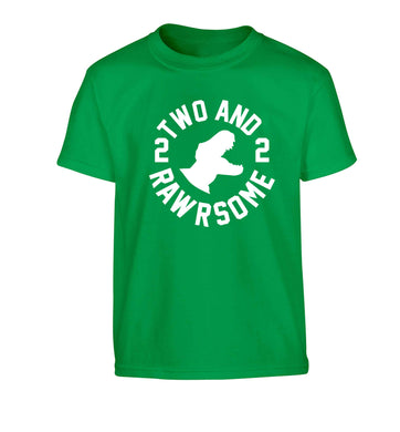 Two and rawrsome Children's green Tshirt 12-13 Years