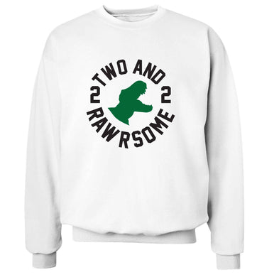 Two and rawrsome adult's unisex white sweater 2XL
