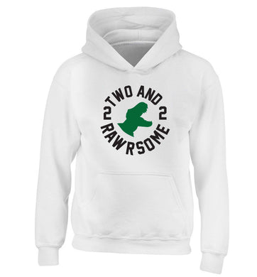 Two and rawrsome children's white hoodie 12-13 Years
