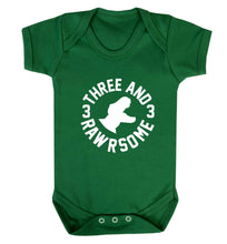 Three and rawrsome baby vest green 18-24 months
