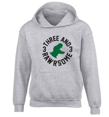 Three and rawrsome children's grey hoodie 12-13 Years