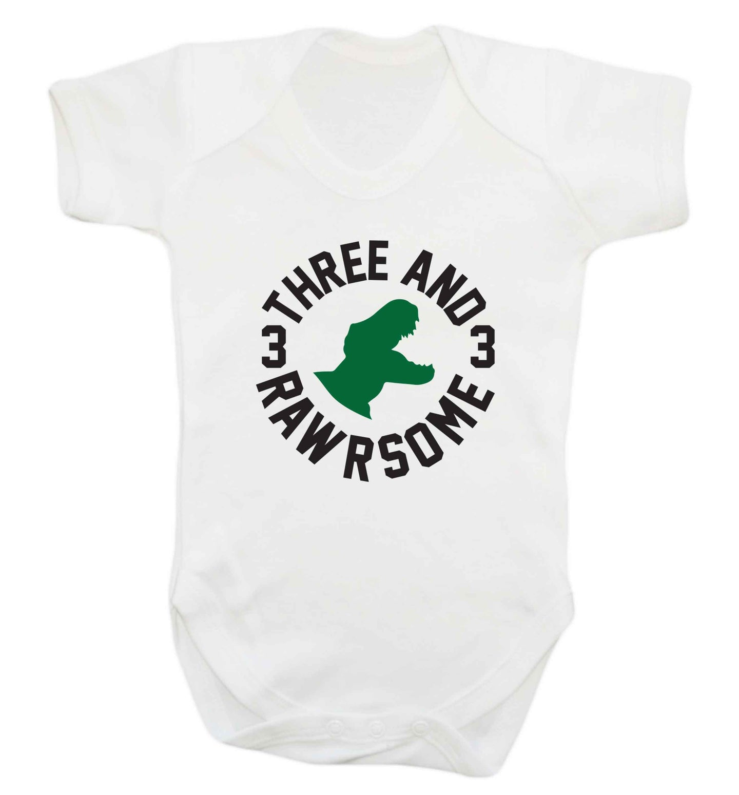Three and rawrsome baby vest white 18-24 months