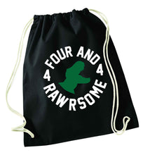 Four and rawrsome black drawstring bag