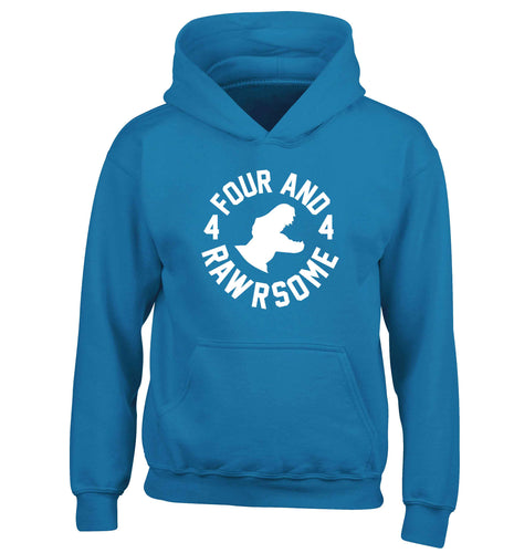 Four and rawrsome children's blue hoodie 12-13 Years