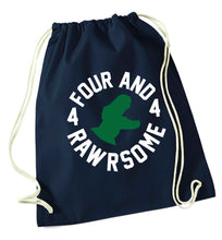 Four and rawrsome navy drawstring bag