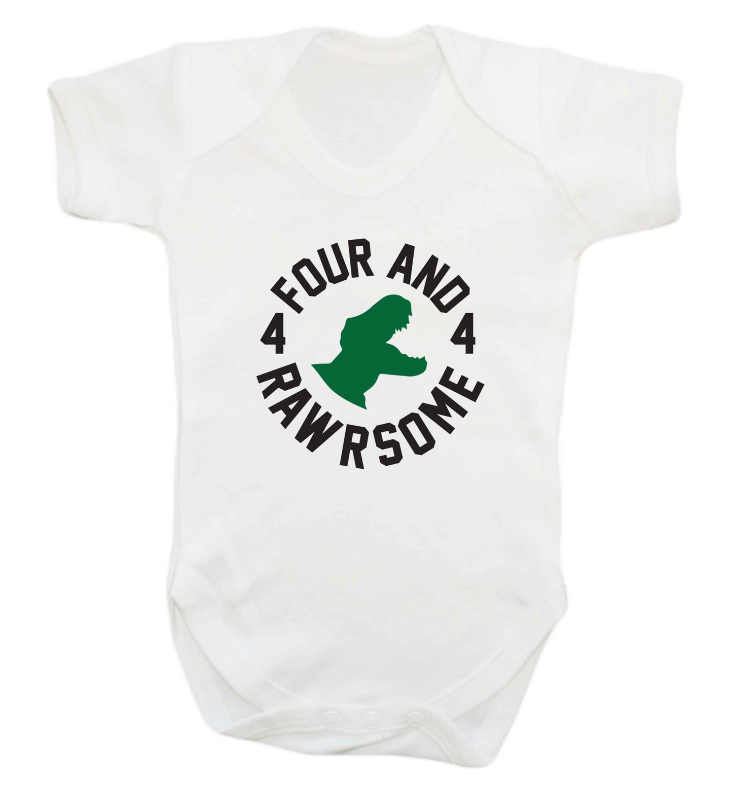 Four and rawrsome baby vest white 18-24 months