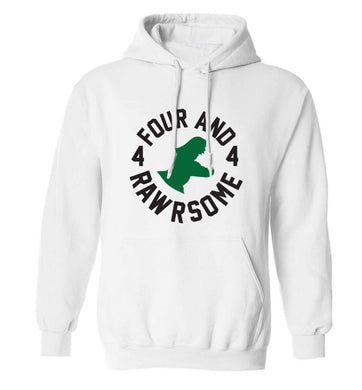 Four and rawrsome adults unisex white hoodie 2XL