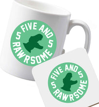 10 oz Ceramic mug and coaster Five and rawrsome both sides