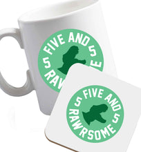 10 oz Five and rawrsome ceramic mug and coaster set right handed