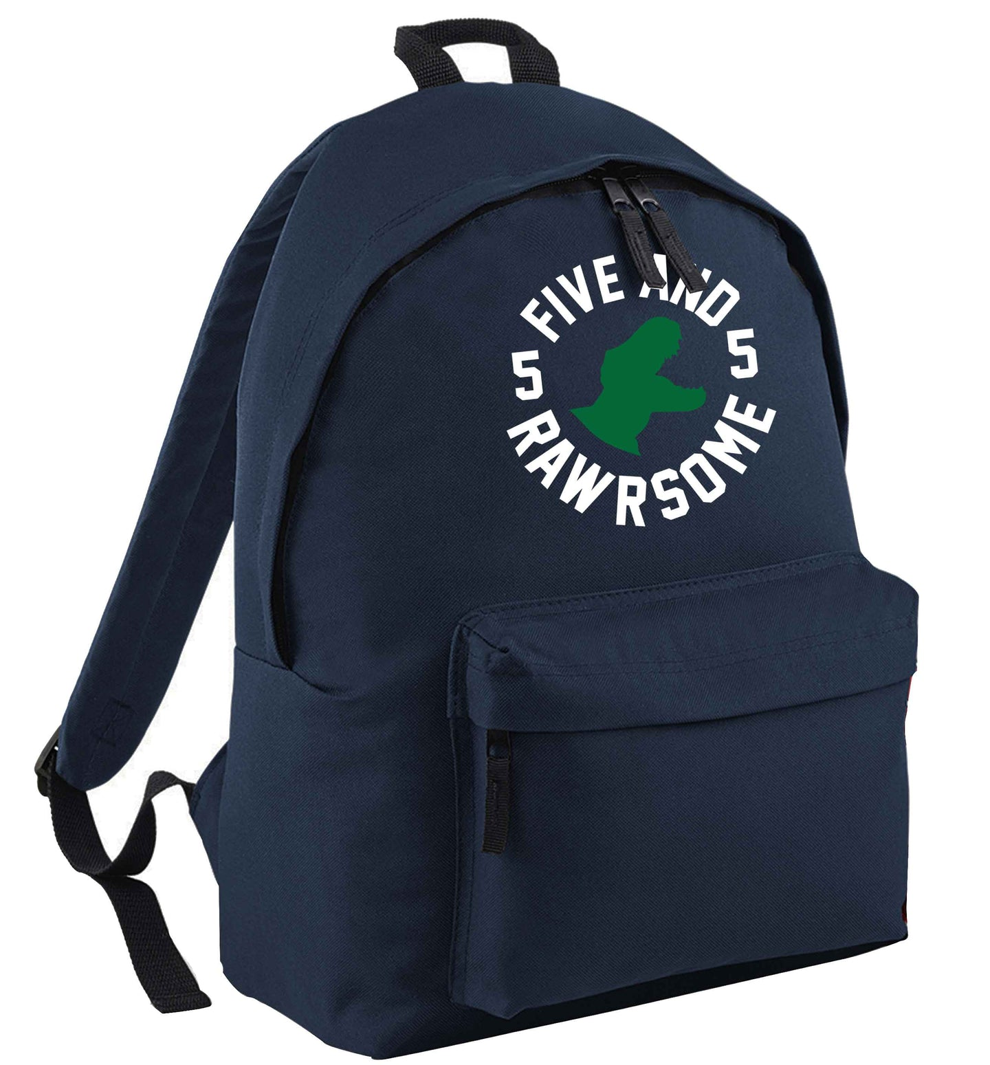 Five and rawrsome navy childrens backpack