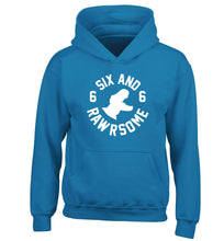 Six and rawrsome children's blue hoodie 12-13 Years