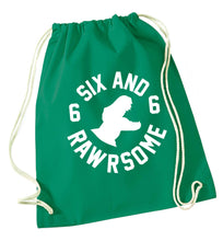 Six and rawrsome green drawstring bag