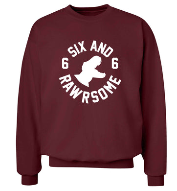 Six and rawrsome adult's unisex maroon sweater 2XL