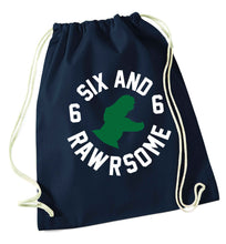 Six and rawrsome navy drawstring bag