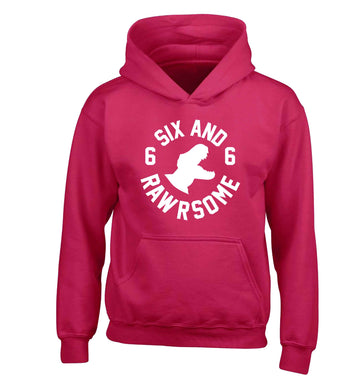 Six and rawrsome children's pink hoodie 12-13 Years