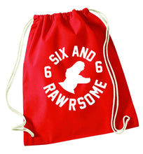 Six and rawrsome red drawstring bag