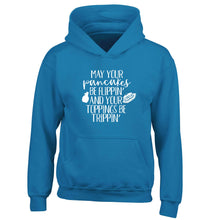 May your pancakes be flippin' and your toppings be trippin' children's blue hoodie 12-13 Years