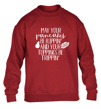 May your pancakes be flippin' and your toppings be trippin' children's grey sweater 12-13 Years