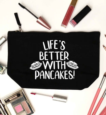 Life's better with pancakes black makeup bag