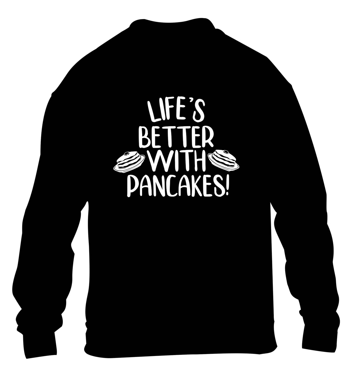 Life's better with pancakes children's black sweater 12-13 Years