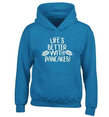 Life's better with pancakes children's blue hoodie 12-13 Years