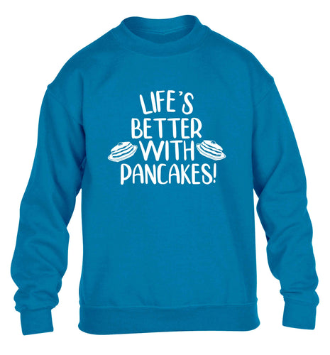 Life's better with pancakes children's blue sweater 12-13 Years