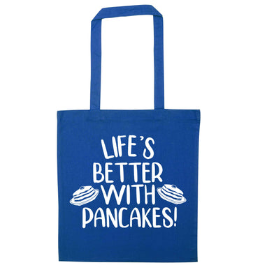 Life's better with pancakes blue tote bag