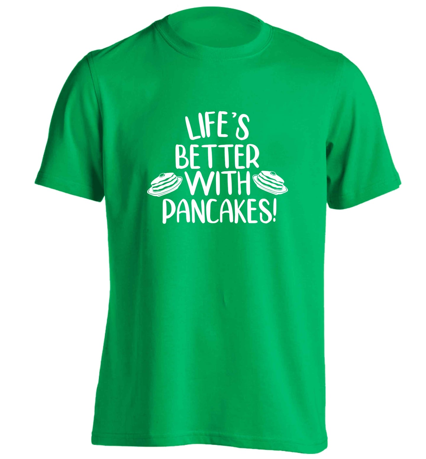 Life's better with pancakes adults unisex green Tshirt 2XL