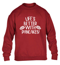 Life's better with pancakes children's grey sweater 12-13 Years