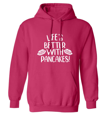 Life's better with pancakes adults unisex pink hoodie 2XL