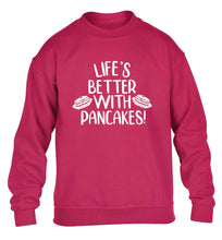 Life's better with pancakes children's pink sweater 12-13 Years