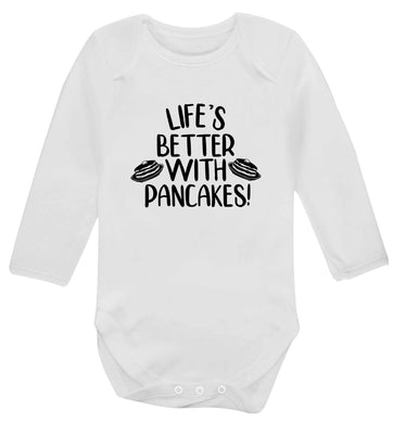 Life's better with pancakes baby vest long sleeved white 6-12 months