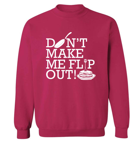Don't make me flip out adult's unisex pink sweater 2XL
